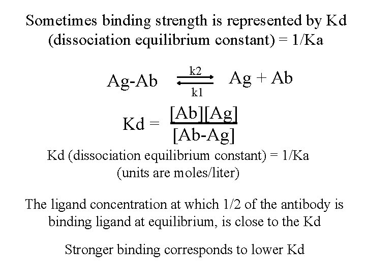 Sometimes binding strength is represented by Kd (dissociation equilibrium constant) = 1/Ka Ag-Ab k