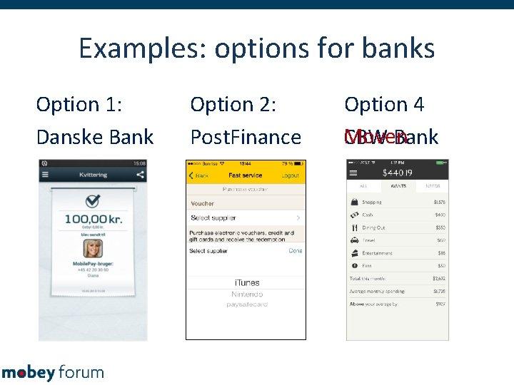 Examples: options for banks Option 1: Danske Bank Option 2: Post. Finance Option 4