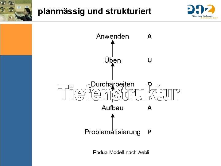 planmässig und strukturiert Sache Bedingungen Bedeutung & Sinn Thematik Lernziele Arrangements Ergebnissicherung Evaluation