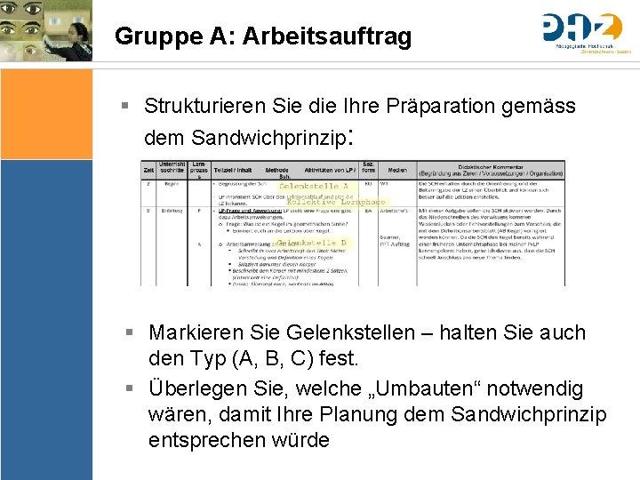 Gruppe A: Arbeitsauftrag § Strukturieren Sie die Ihre Präparation gemäss dem Sandwichprinzip: Sache Bedingungen
