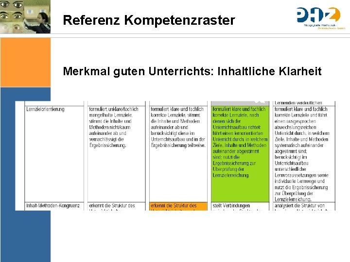 Referenz Kompetenzraster Merkmal guten Unterrichts: Inhaltliche Klarheit Sache Bedingungen Bedeutung & Sinn Thematik Lernziele