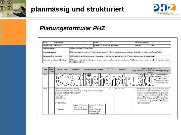 planmässig und strukturiert Planungsformular PHZ Sache Bedingungen Bedeutung & Sinn Thematik Lernziele Arrangements Ergebnissicherung
