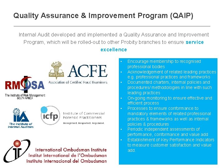 Quality Assurance & Improvement Program (QAIP) Internal Audit developed and implemented a Quality Assurance
