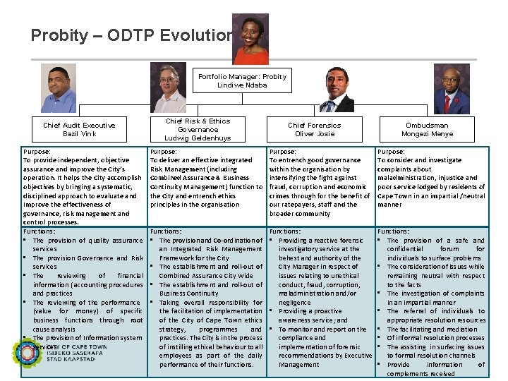 Probity – ODTP Evolution Portfolio Manager: Probity Lindiwe Ndaba Chief Audit Executive Bazil Vink