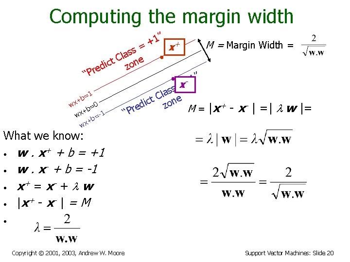 "Computing the margin width 1"" + + M = Margin Width = = x"