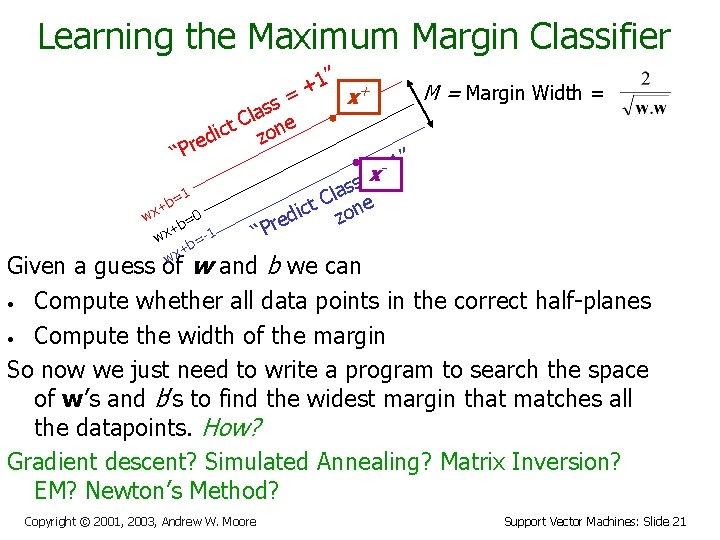 "Learning the Maximum Margin Classifier 1"" + + M = Margin Width = ="