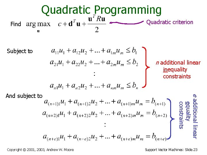 Quadratic Programming Find Quadratic criterion Subject to n additional linear inequality constraints Copyright ©