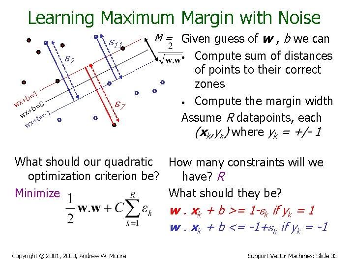 Learning Maximum Margin with Noise e 2 =1 b x+ w 0 b= +