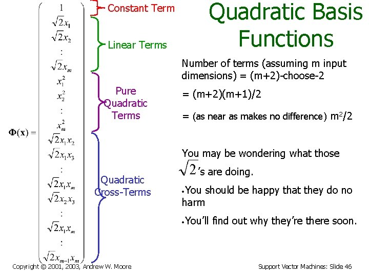 Quadratic Basis Functions Constant Term Linear Terms Number of terms (assuming m input dimensions)