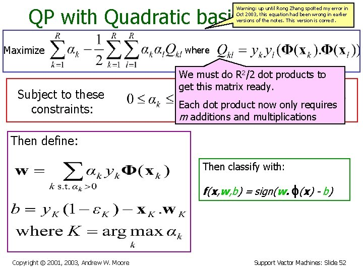 QP with Quadratic basis functions Warning: up until Rong Zhang spotted my error in
