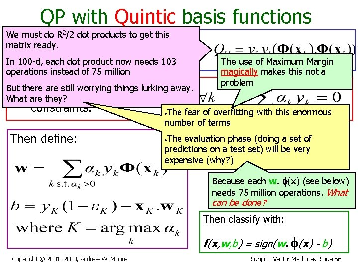 QP with Quintic basis functions We must do R 2/2 dot products to get