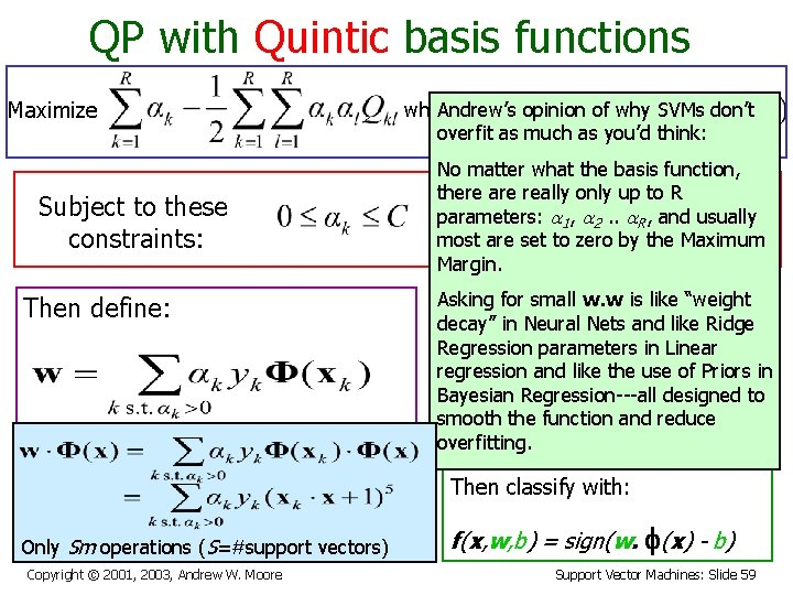 QP with Quintic basis functions Maximize Subject to these constraints: Then define: where Andrew's