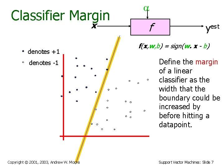 Classifier Margin x denotes +1 denotes -1 Copyright © 2001, 2003, Andrew W. Moore