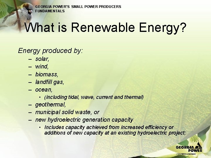 GEORGIA POWER'S SMALL POWER PRODUCERS FUNDAMENTALS What is Renewable Energy? Energy produced by: –