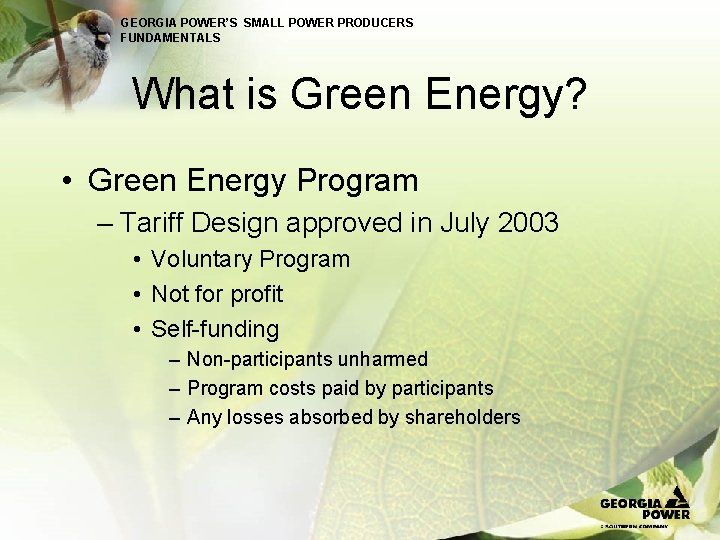 GEORGIA POWER'S SMALL POWER PRODUCERS FUNDAMENTALS What is Green Energy? • Green Energy Program