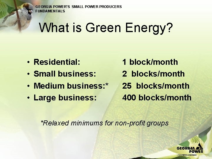 GEORGIA POWER'S SMALL POWER PRODUCERS FUNDAMENTALS What is Green Energy? • • Residential: Small