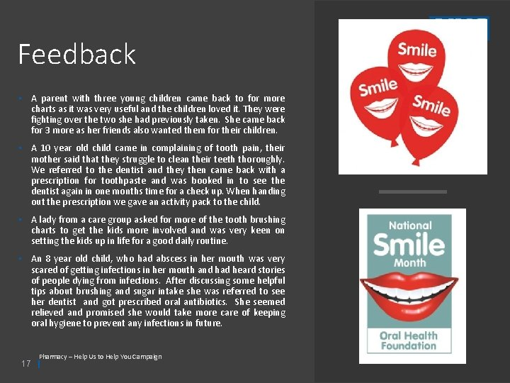 Feedback • A parent with three young children came back to for more charts