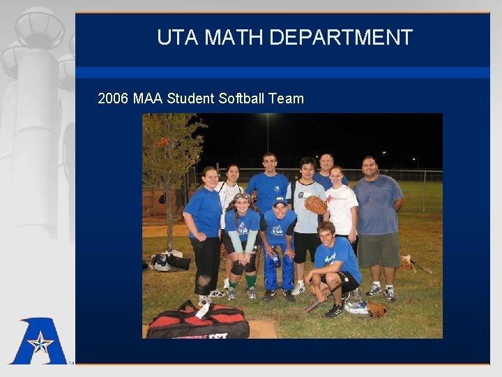 UTA MATH DEPARTMENT 2006 MAA Student Softball Team
