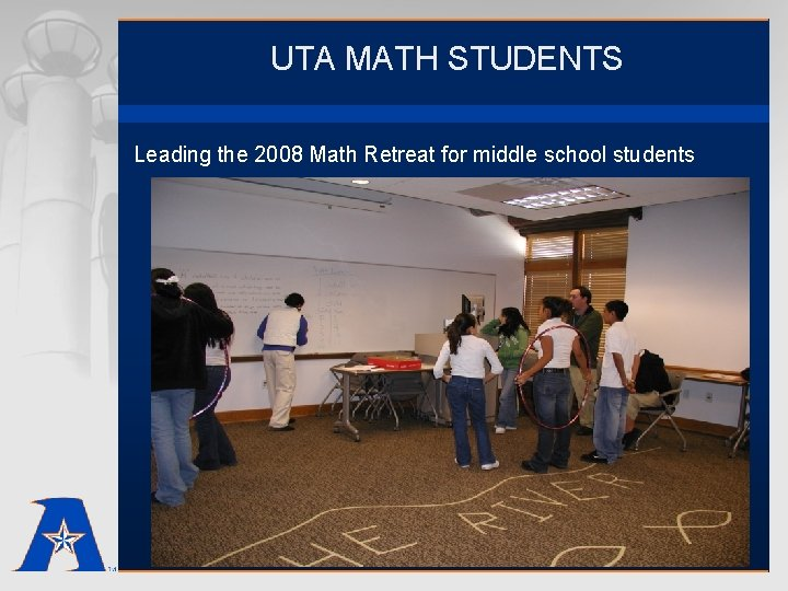 UTA MATH STUDENTS Leading the 2008 Math Retreat for middle school students