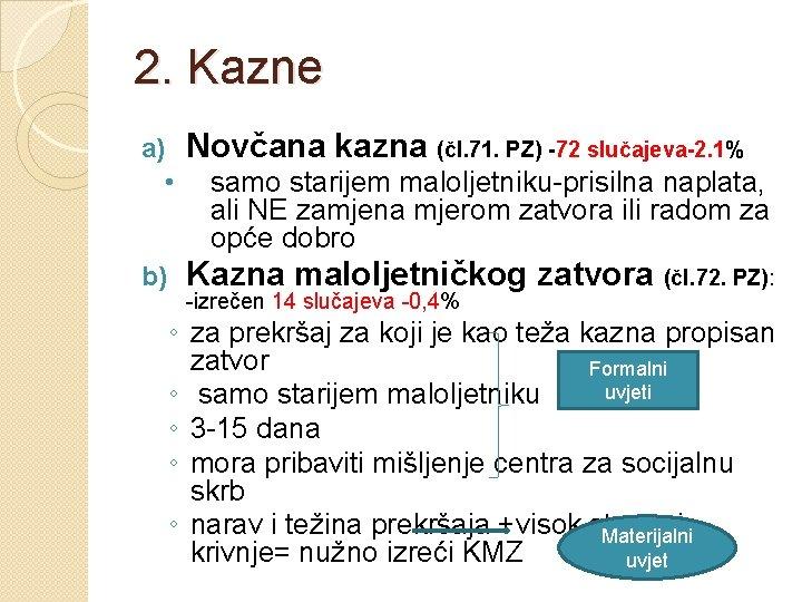 2. Kazne Novčana kazna (čl. 71. PZ) -72 slučajeva-2. 1% a) • b) samo