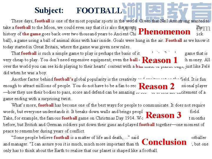 Subject: FOOTBALL These days, football is one of the most popular sports in the