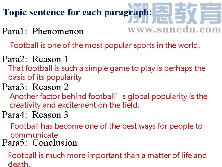 Topic sentence for each paragraph: Para 1: Phenomenon Football is one of the most