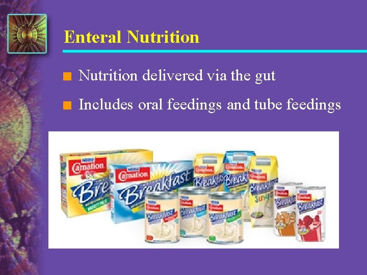 Enteral Nutrition n Nutrition delivered via the gut n Includes oral feedings and tube
