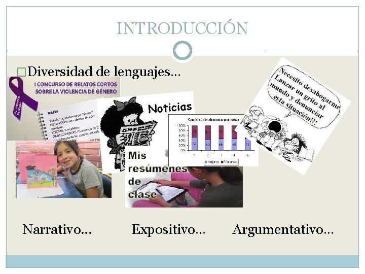 INTRODUCCIÓN �Diversidad de lenguajes… Narrativo. . . Expositivo… Argumentativo…