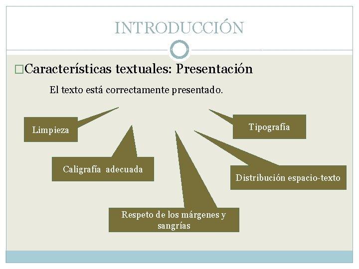 INTRODUCCIÓN �Características textuales: Presentación El texto está correctamente presentado. Tipografía Limpieza Caligrafía adecuada Respeto