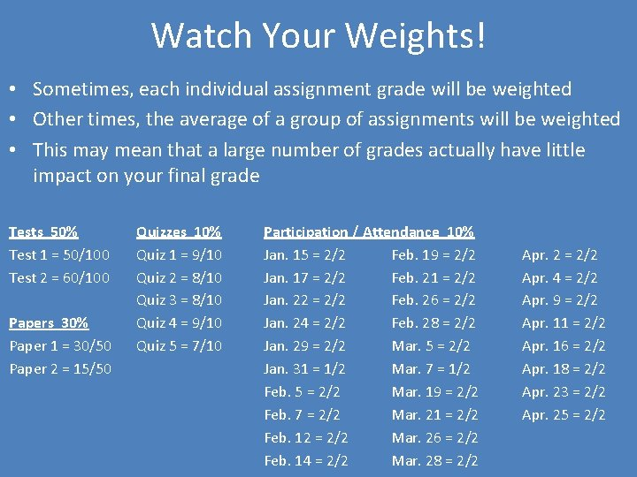 Watch Your Weights! • Sometimes, each individual assignment grade will be weighted • Other