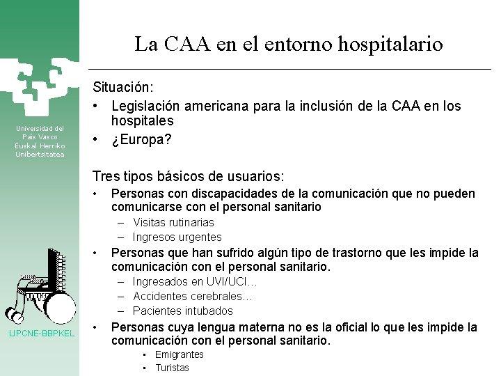 La CAA en el entorno hospitalario Universidad del País Vasco Euskal Herriko Unibertsitatea Situación: