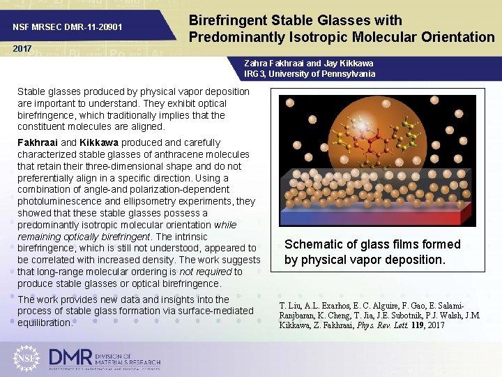 NSF MRSEC DMR-11 -20901 2017 Birefringent Stable Glasses with Predominantly Isotropic Molecular Orientation Zahra