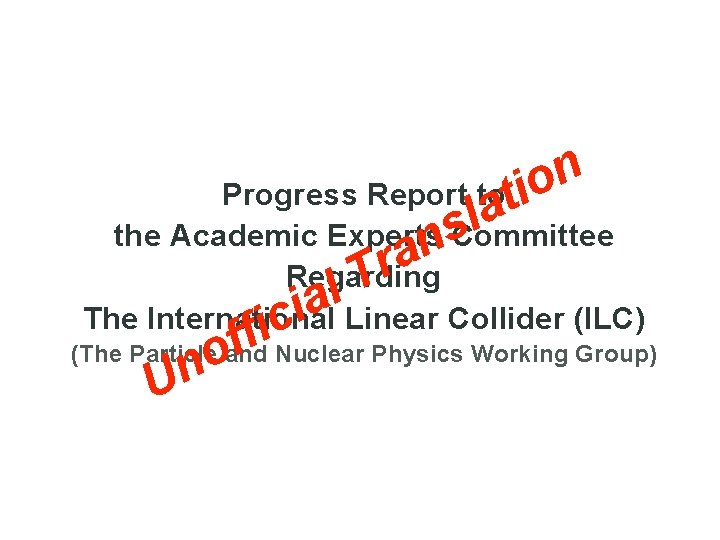 n o Progress Report toti a l s the Academic Experts Committee n a