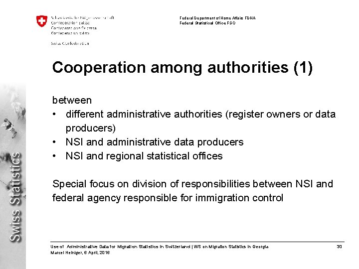 Federal Department of Home Affairs FDHA Federal Statistical Office FSO Cooperation among authorities (1)