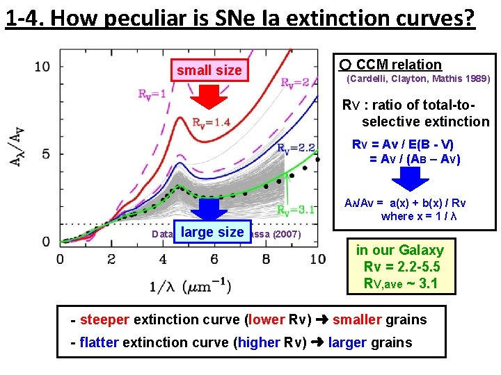 1 -4. How peculiar is SNe Ia extinction curves? small size 〇 CCM relation