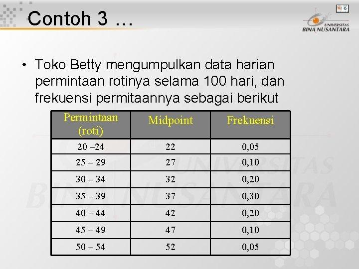 Contoh 3 … • Toko Betty mengumpulkan data harian permintaan rotinya selama 100 hari,