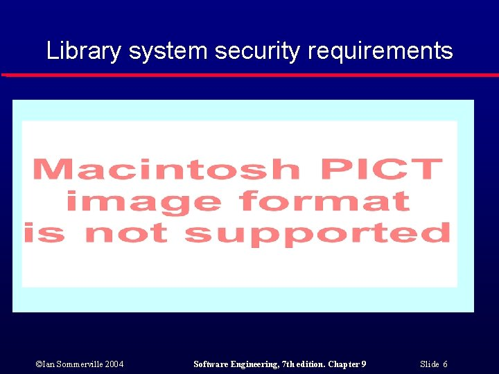 Library system security requirements ©Ian Sommerville 2004 Software Engineering, 7 th edition. Chapter 9