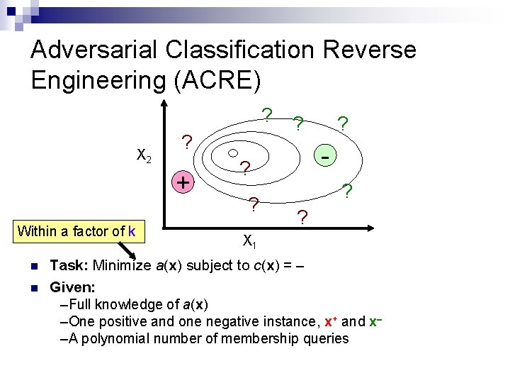 Adversarial Classification Reverse Engineering (ACRE) ? X 2 ? + Within a factor of