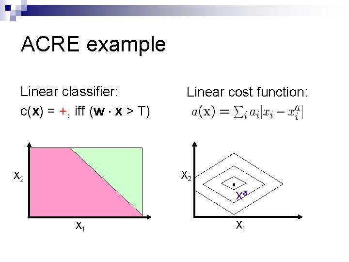 ACRE example Linear classifier: c(x) = +, iff (w x > T) Linear cost