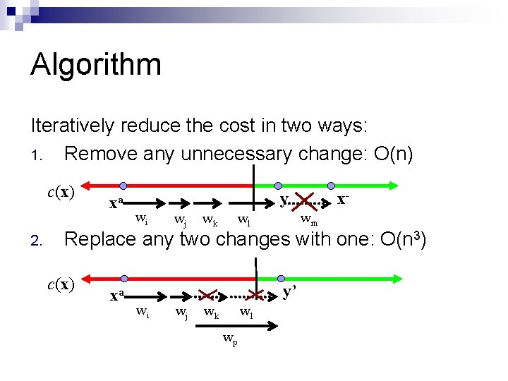 Algorithm Iteratively reduce the cost in two ways: 1. Remove any unnecessary change: O(n)