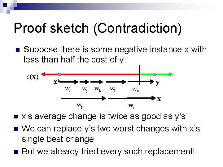 Proof sketch (Contradiction) n Suppose there is some negative instance x with less than