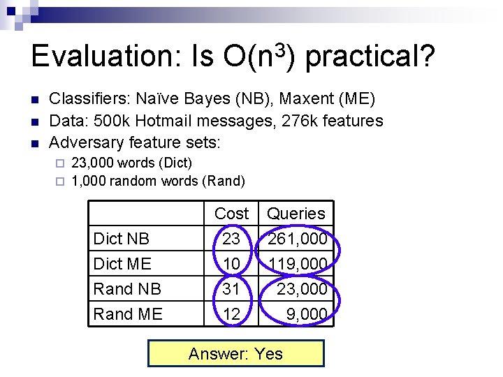 Evaluation: Is O(n 3) practical? n n n Classifiers: Naïve Bayes (NB), Maxent (ME)