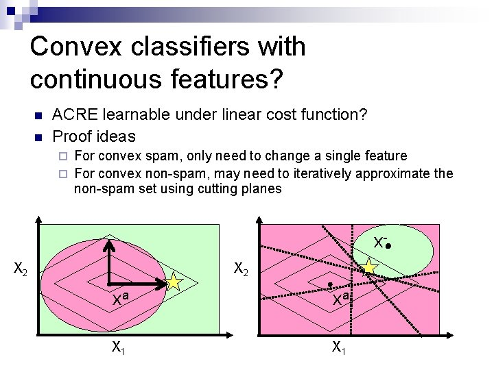 Convex classifiers with continuous features? n n ACRE learnable under linear cost function? Proof