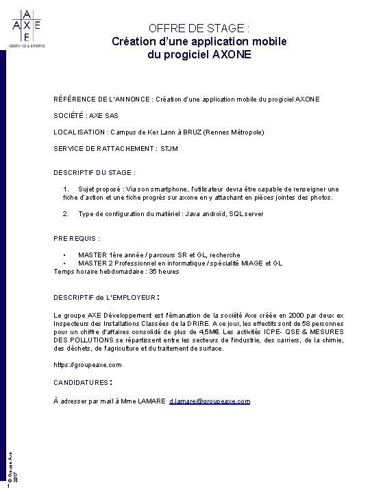 OFFRE DE STAGE : Création d'une application mobile du progiciel AXONE RÉFÉRENCE DE L'ANNONCE