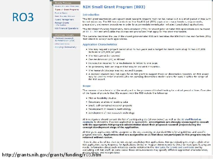 RO 3 http: //grants. nih. gov/grants/funding/r 03. htm