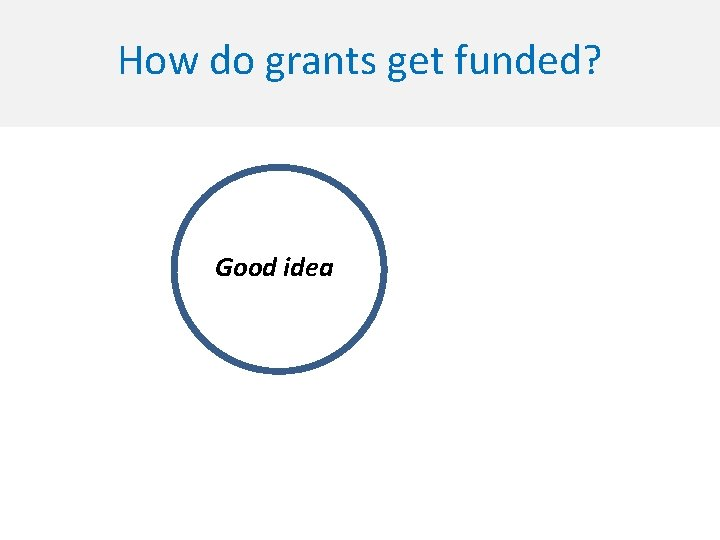 How do grants get funded? Good idea