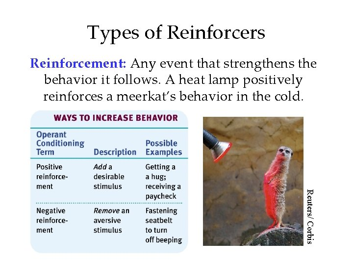 Types of Reinforcers Reinforcement: Any event that strengthens the behavior it follows. A heat