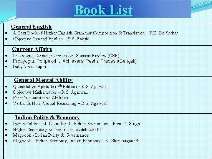 Book List General English A Text Book of Higher English Grammar Composition & Translation