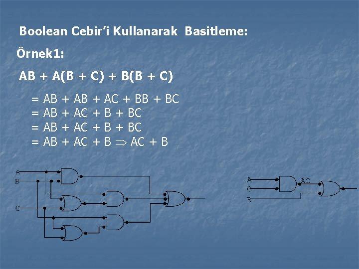 Boolean Cebir'i Kullanarak Basitleme: Örnek 1: AB + A(B + C) + B(B +