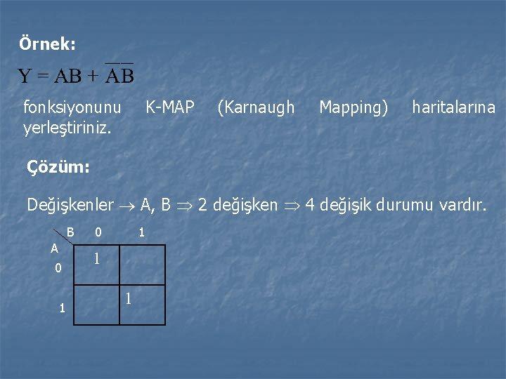 Örnek: fonksiyonunu yerleştiriniz. K-MAP (Karnaugh Mapping) haritalarına Çözüm: Değişkenler A, B 2 değişken 4